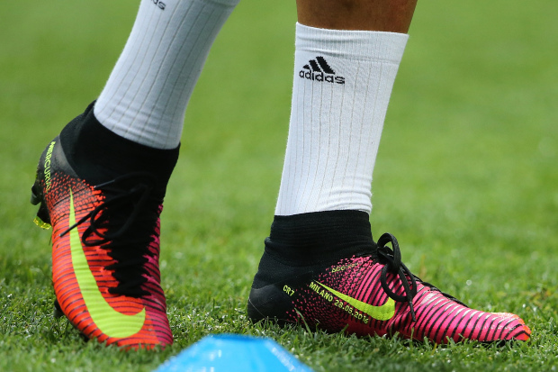 MILAN, ITALY - MAY 28: Detail of the Nike boots of Cristiano Ronaldo of Real Madrid prior to the UEFA Champions League final match between Real Madrid and Club Atletico de Madrid at Stadio Giuseppe Meazza on May 28, 2016 in Milan, Italy. (Photo by Matthew Ashton - AMA/Getty Images)